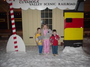My niece & nephews waiting for The Polar Express, 2004
