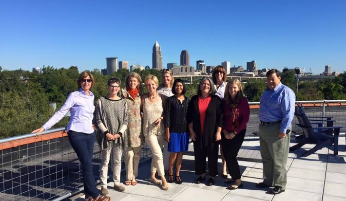 EA staff on top of the Fairmount Creamery Building in Tremont