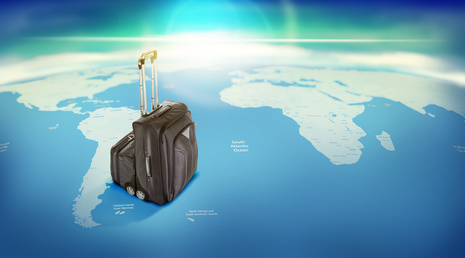 Luggage. Travel concept, world map. High resolution.