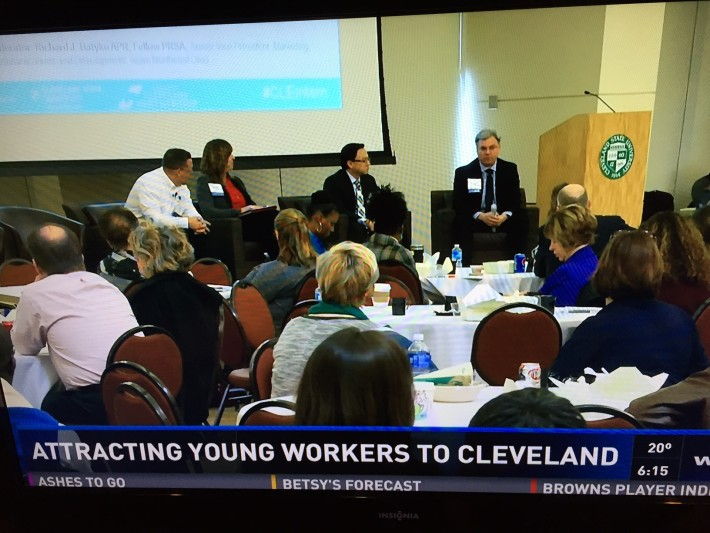 EA President Margy Judd (red shirt) on panel at Cleveland Intern Summit held at Cleveland State University in February 2016