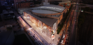 The arena will be wrapped at its north end by the new addition.